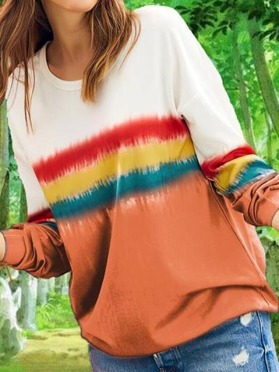Casual Printed long sleeve gradient sweatshirts