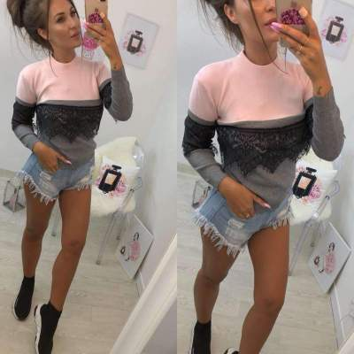 Fashion Gored Round neck Lace T-Shirts