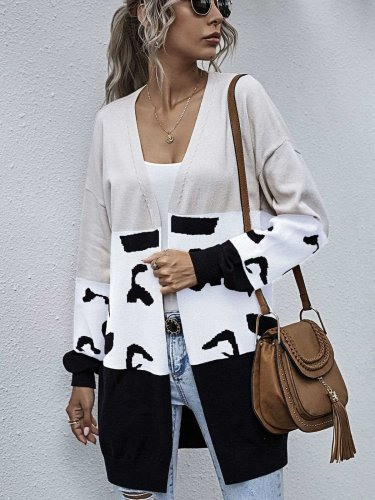 Fashion Casual Gored Print Long sleeve Knit Cardigan