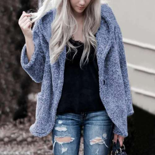Fashion Casual Plush Long sleeve Hoodie Coats