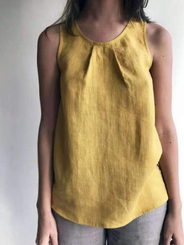 Round Neck Sleeveless Plain Casual Vests