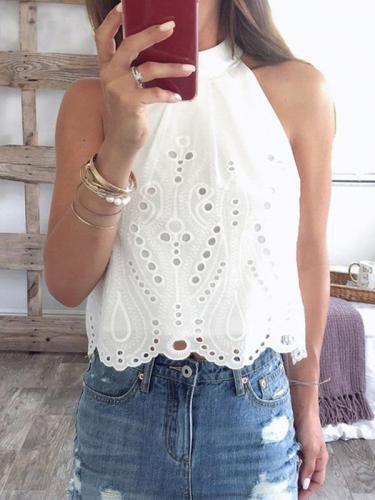 Women banc neck white  hollow out vests