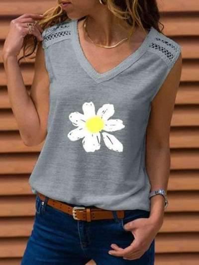 Fashion Print V neck Sleeveless T-Shirts
