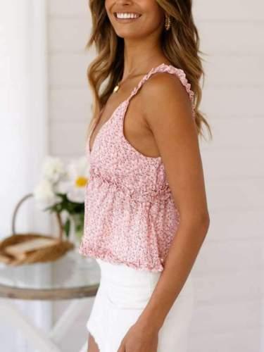 Sexy V-neck flower printed flounce edge condole belt vest tops