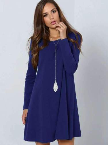 Fashion Pure Round neck Long sleeve Shift Dresses
