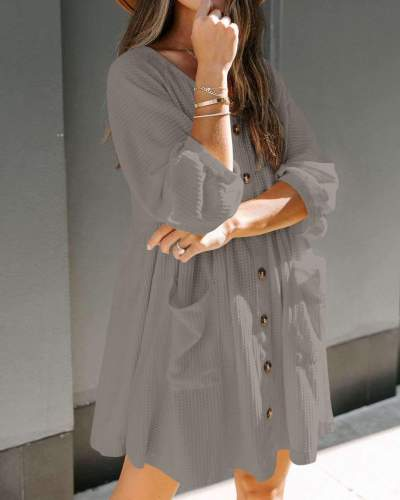 Fashion Casual Loose Pure V neck Fastener Pocket Knit Shift Dresses