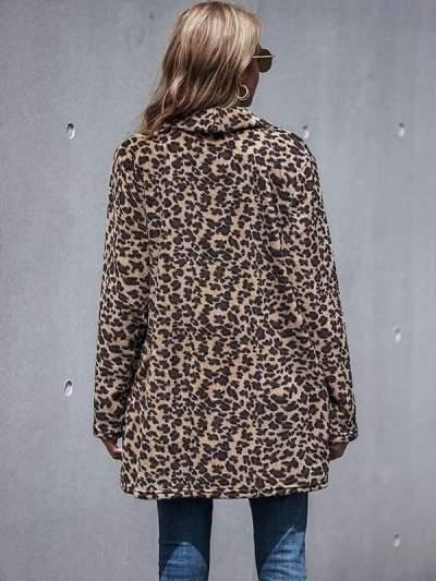 Women's long sleeve leopard printed casual coats