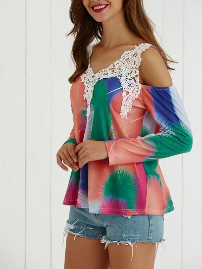 Woman V Neck Off Shoulder Lacework Elegant Daily T-shirt