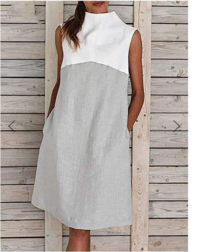 Casual Gored Stand collar Sleeveless Shift Dresses