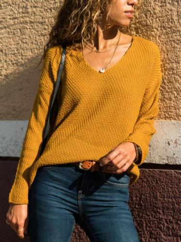 V Neck Plain Fashion Sweaters For Woman