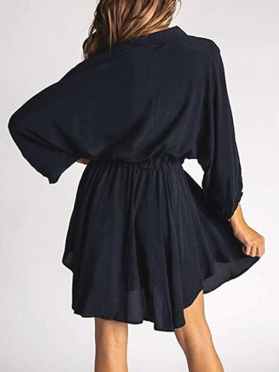 Women's fashion lantern long sleeve belt loose skater dresses