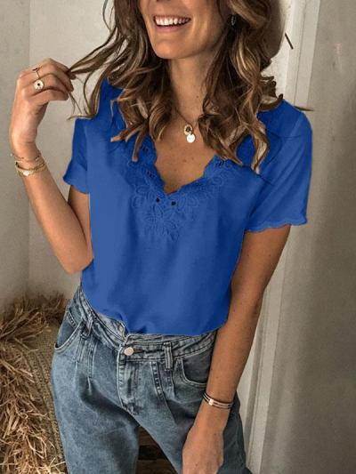 Women v neck fashion short sleeve T-shirts