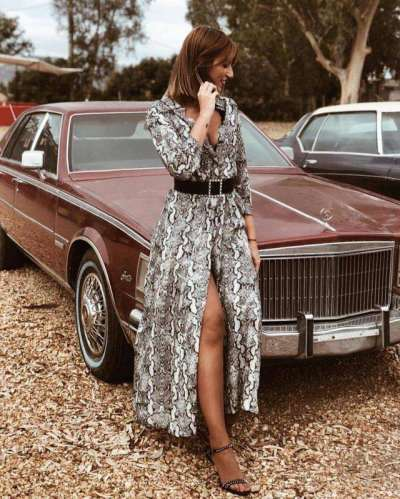 Fashion Casual Serpentine printing Long sleeve Maxi Dresses
