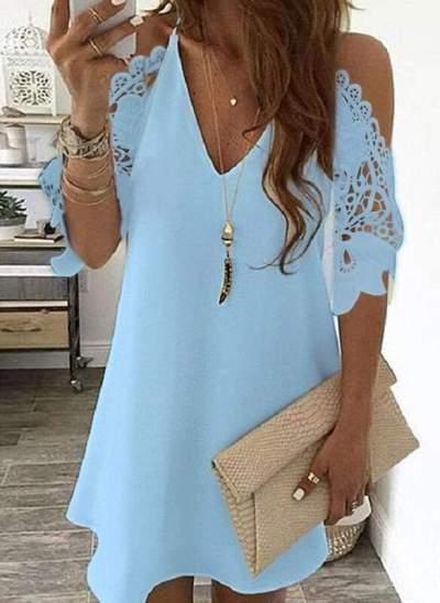 Sexy Lace Pure Off shoulder V neck Half sleeve Shift Dresses