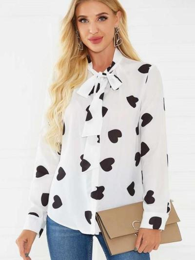 Fashion Point print Stand collar Lacing Long sleeve Blouses