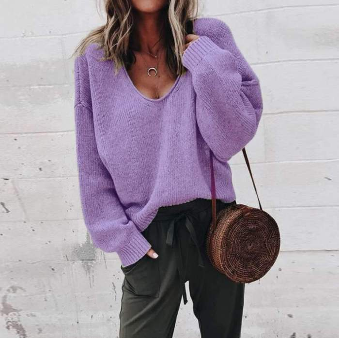 Fashion Casual Pure V neck Long sleeve Sweaters
