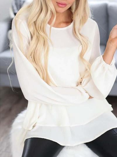 Loose chiffon women's long sleeve solid blouses