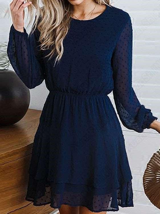 Fashion Pure Round neck Long sleeve Skater Dresses