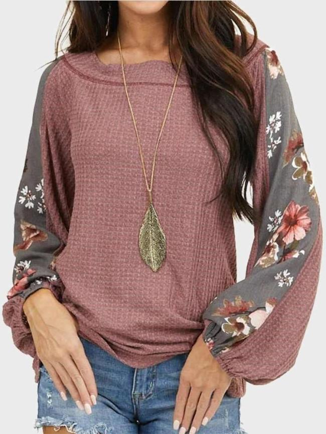 Casual Loose Print Round neck Long sleeve Sweaters