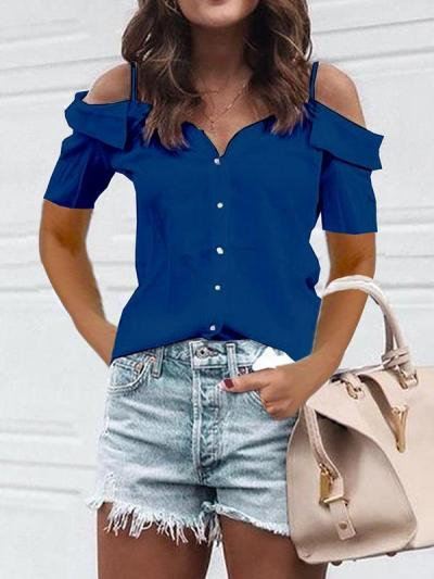 Casual fashion off shoulder strap short sleeve T-shirts