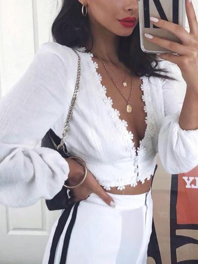Sexy Deep V Neck women long sleeve Daisy lace Blouses