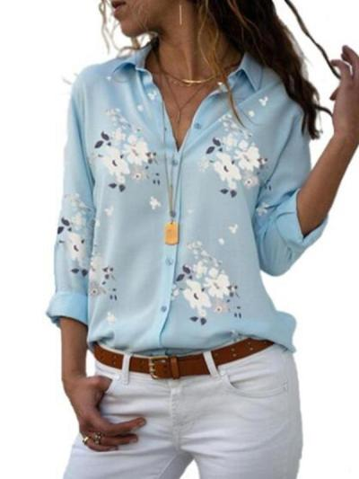 Women Casual Printed Long Sleeve Sprng Autumn Blouses