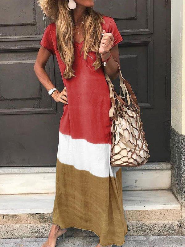 Loose contrast patchwork short sleeve printed v-neck dresses