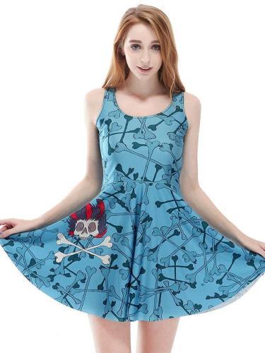 New Skeleton Print Vest Shift Dresses