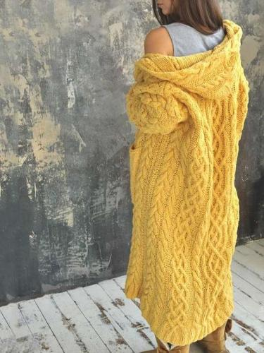 Fashion Casual Pure Knit Long sleeve Hoodie Coats