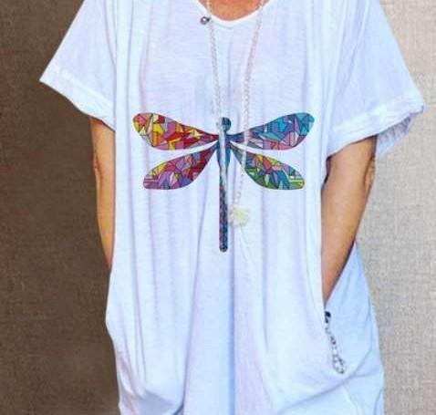 Casual Loose Print V neck Short sleeve Pocket Shift Dresses