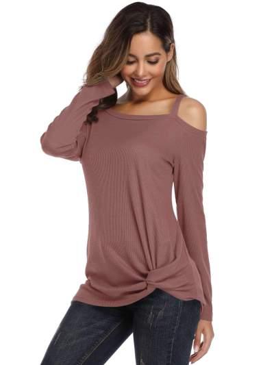 Irregular Single shoulder Vest Long sleeve Snarls T-Shirts