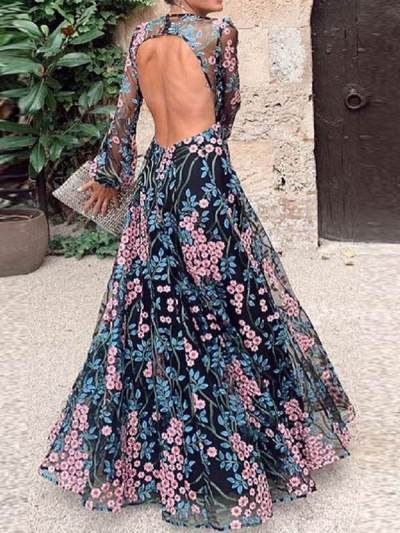 Elegant floral printed women backless long sleeve chiffon maxi dresses