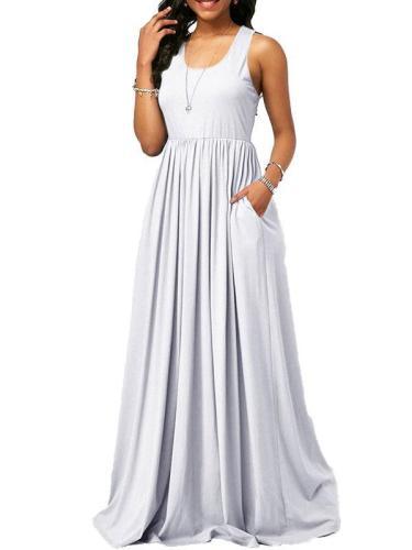 Plain U neck Women Sleeveless Maxi Dresses
