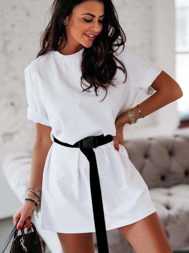 Fashion Pure Round neck Short sleeve Belt Shift Dresses