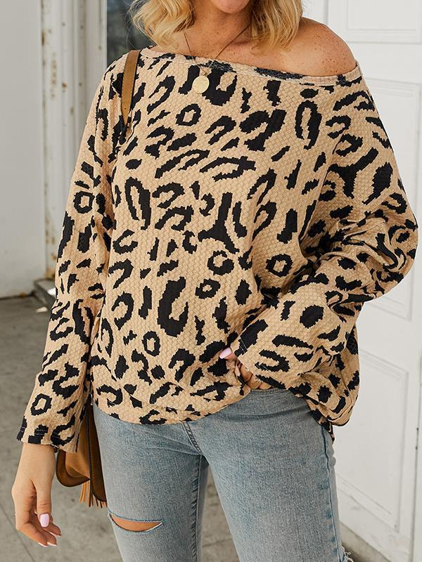 Long sleeve leopard printed one off shoulder  top T-shirts