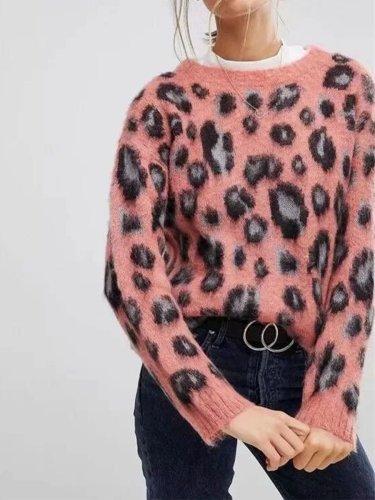 Pink Leopard Print Style Long Sleeve Woman Sweater