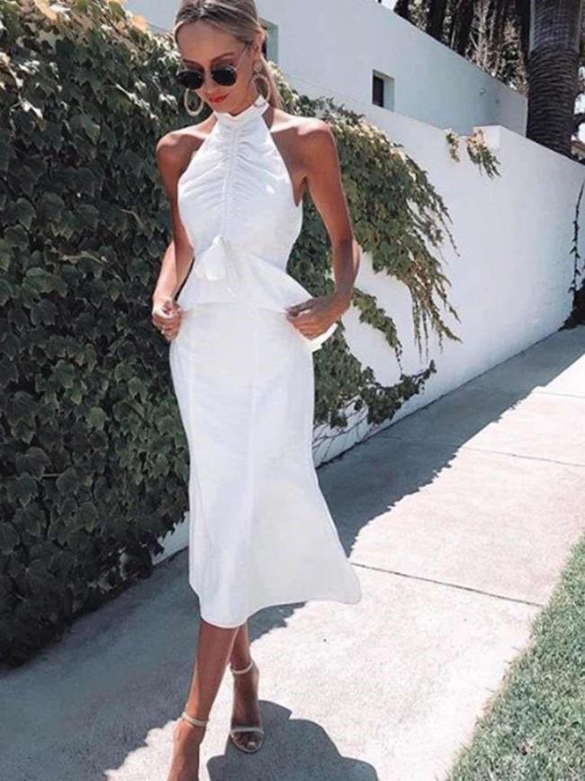 Fashion Sexy Pure Halter Sleeveless Falbala Bodycon Dresses