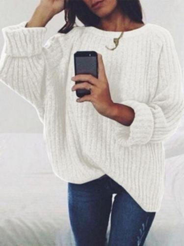 Fashion Round Neck Long Batwing Sleeve Knitting Plain Sweaters
