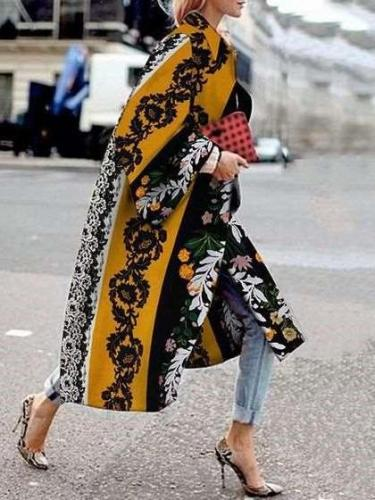Fashion Casual Print Lapel Long sleeve Trench Coats