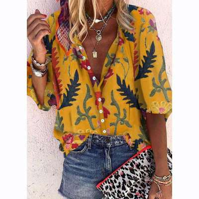 Casual Print Stand collar Long sleeve Blouses