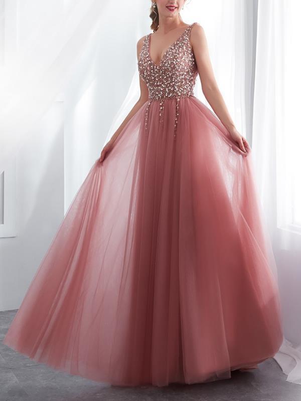 Sexy women elegant sleeveless v neck backless long evening dresses