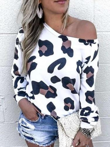 Fashion Casual Print One shoulder Long sleeve T-Shirts