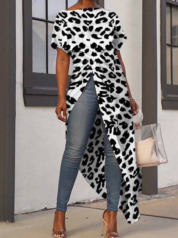 Irregular Hem leopard printed fashion T-shirts
