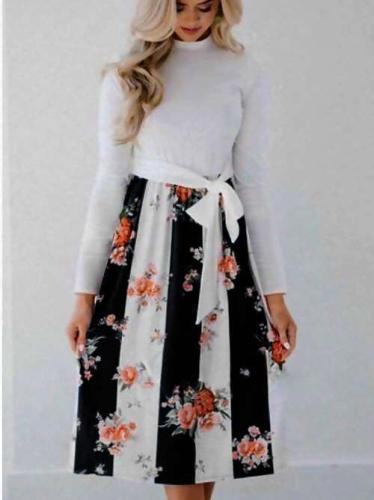 Fashion Gored Lacing Floral Skater Dresses