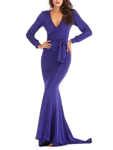 Elegant plain tie waist women long sleeve long evening dresses