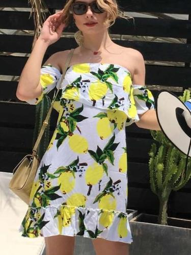 Fashion Print Off shoulder Falbala Short sleeve Shift Dresses