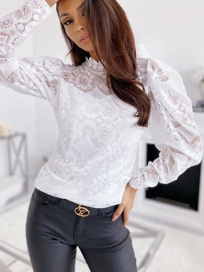 Fashionable Women High Neck Long sleeve Lace Blouses