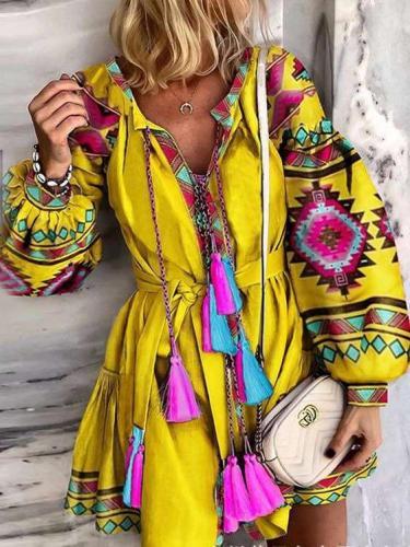 Fashion Loose Print Purl Long sleeve Shift Dresses