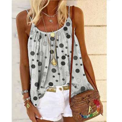 Casual Round neck Vest Print T-Shirts