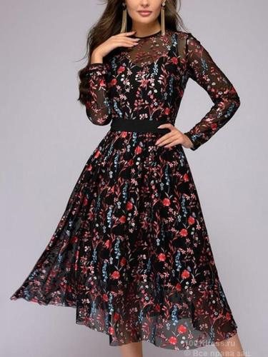Women lace printed long sleeve skater dresses